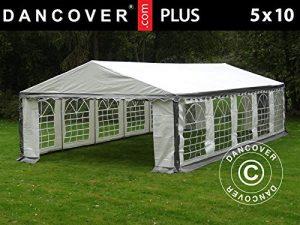 Dancover Tente de réception Plus 5x10m PE, Gris/Blanc