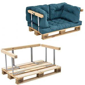 [en.casa] Canapé de palettes – 2-siège avec coussins – (turquoise) kit complète incl. accoudoir et dossier
