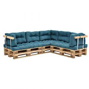 [en.casa] Canapé de palettes – 5-siège avec coussins – (turquoise) kit complète incl. accoudoir et dossier