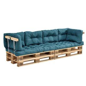 [en.casa] Coussins pour palettes – 8 pièces – Coussin de siège + Coussins de Dossier [Turquoise] Canapé de palettes in/Outdoor