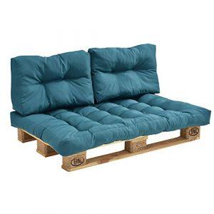 en.casa] Coussins pour palettes – kit de 3 – coussin de siège + Coussins de dossier [turquoise] Canapé de palettes In/Outdoor