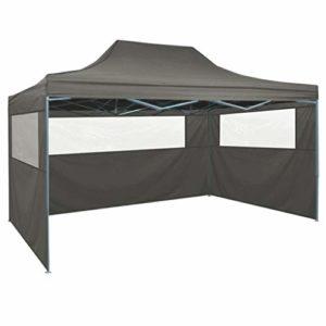 Festnight Gazebo Pliable | Tente de réception | Tente de réception Pliable avec 3 parois 3×4 m Acier Anthracite