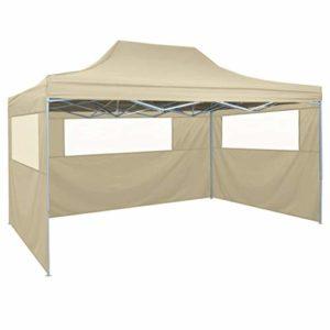 Festnight Tente de réception | Imperméable Tente de Jardin | Tente de réception Pliable avec 3 parois 3×4 m Acier Crème