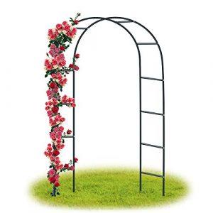 Forever Speed Arceau à rosiers Tuteur Colonne de Jardin Arche à rosiers ,Arche à Rosiers Plantes Grimpantes Métal 240 x 140 x 38 CM/ Noir