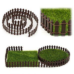 GEZICHTA miniature Clôture Décor de jardin, Miniature Jardin en pot de fleurs Pot de fleurs DIY Home Decor de clôture Bois Blanc (100*3cm/99,8x 3cm) (3m, café)
