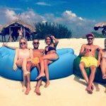 Hamac Gonflable,Sofa d'air imperméable à l'eau avec le paquet portatif, lit d'air de sofa gonflable de fainéant paresseux pour voyager, camping, randonnée, parties de piscine et de plage