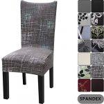 Housse de chaise de maison Yisun – Style moderne – En Spandex – Housses pour chaise haute – 4 à 6 housses, Coffee + Line Pattern, Lot de 6