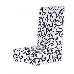 Housse de Chaise de Salle à Manger Couverture Amovible Stretch – Blanc avec Imprimé Floral Noir