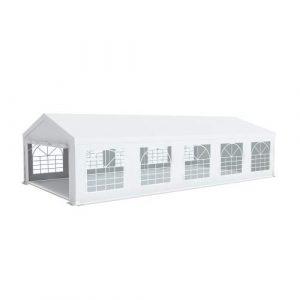 Interouge Barnum événementiel 5x10m Tente réception chapiteau Blanc qualité Semi-Pro Acier épais 50mm et PVC 500 g/m² imperméable ignifugé