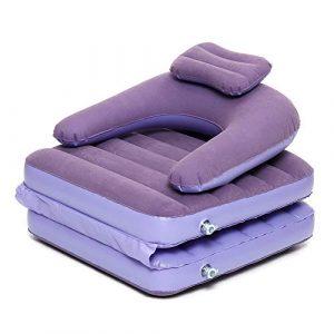 Keliour Canapé Paresseux avec Siège au Sol 2 en 1 Gonflable Lazy Sofa Pliant Portable Lit Simple Matelas avec Pompe À Air Extérieur Camping (Couleur : Violet, Taille : Taille Unique)