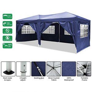 Laiozyen Gazebo 3mx6m, Tente de pavillon Pliable imperméable à l'eau, Tente de pavillon Pliante avec 4 côtés pour Jardin/fête/Mariage/Pique-Nique/marché (Blu)