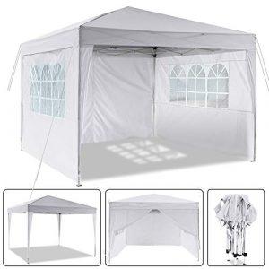 Laiozyen Pavillon 3mx3m, Tente de pavillon Pliable imperméable à l'eau, Tente de pavillon Pliante avec 4 côtés pour Jardin/fête/Mariage/Pique-Nique/marché (Blanc)