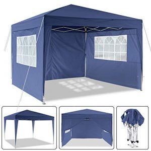 Laiozyen Pavillon 3mx3m, Tente de pavillon Pliable imperméable à l'eau, Tente de pavillon Pliante avec 4 côtés pour Jardin/fête/Mariage/Pique-Nique/marché (Bleu)