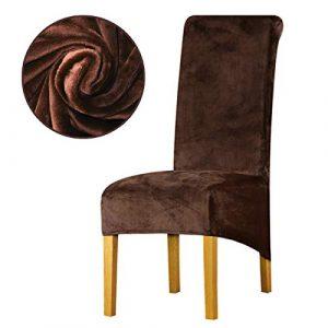 LANSHENG La Chaise XL Couvre, Spandex de Bout Droit avec la Bande élastique, la Grande Dame de Velours dinant la Chaise pour Le Banquet de fête d'hôtel de Restaurant (Café Noir,6 Pièces(XL))
