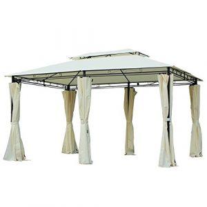 Outsunny Tonnelle Barnum pavillon de Jardin Style Colonial Double Toit Toiles latérales Amovibles 3L x 4l x 2,65H m crème