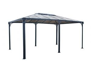 Palram Martinique 5000 Tonnelle de Jardin Rectangulaire – Structure Aluminium et Toit Rigide – Pour Couvrir une Terrasse Toute L'année – Garantie 10 Ans