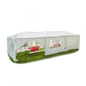 Relaxdays Tonnelle 3 x 9 avec Panneaux latéraux, fenêtres, Festival, tonnelle de Jardin pour fêtes, Toit en polyéthylène, Acier, 300 x 900 cm, Blanc