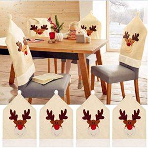 Renne Noël Housse de chaise (Lot de 4) Cerf de Noël décoration table 50x 60cm