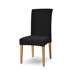 subrtex Housse de Chaise de Salle à Manger Stretch Extensible Antidérapante Couverture de Chaise (4 Pièce, Noir)