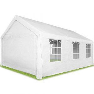 tectake 403260 Tonnelle de Jardin 6×4 m autoportée, Structure en Acier, Rideaux de Toile à fenêtres, Bâche de Toit Incluse Blanc