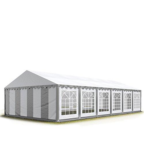 Tente Barnum de Réception 6×12 m ECONOMY Bâches Amovibles PVC 500 g/m² gris-blanc / Jardin Tonnelle Pavillon Chapiteau