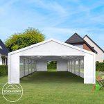 Tente de réception 3×6 m, toile de haute qualité 240g/m² PE blanc construction en acier galvanisé avec raccordement par vissage