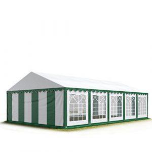 Tente de réception 5×10 m, toile de haute qualité 500g/m² PVC vert-blanc, constructionen acier galvanisé avec raccordement par vissage