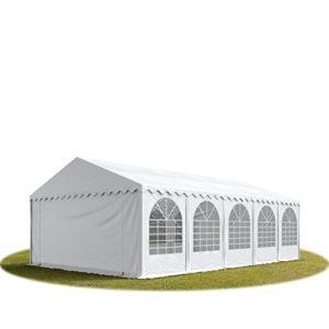 Tente de réception 5×10 m, toile de haute qualité 550g/m² PVC blanc, cadre desol,construction en acier galvanisé, fixation par vissage, hauteur de côté de 2,6m