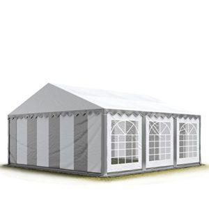 Tente de réception / Barnum 3×6 m – ignifugee gris-blanc toile de haute qualité 500g/m² PVC ECONOMY INTENT24