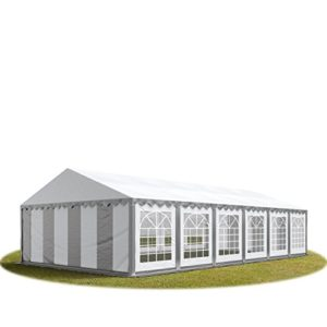 Tente de réception / Barnum 6×12 m – ignifugee gris-blanc toile de haute qualité 500g/m² PVC ECONOMY INTENT24