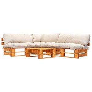 Tidyard Canapé d'angle 4 pcs | Canapé de Jardin Palette | Canapés à 2 Places avec Coussins Sable Pinède FSC