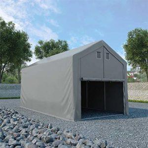 Tidyard Tente de Rangement/Tente de Rangement de Garage en PVC Solide et Durable Gris 4 x 8 m