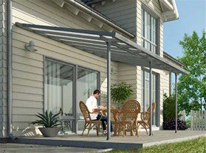 Toit de terrasse en alu gris et polycarbonate 3 x 6 m -Dim : 610 x 295 x 260 cm -PEGANE-