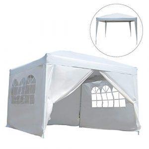 Tonnelle barnum tente de réception pliante 3 x 3 x 2,55 m blanc avec fenêtres + sac de transport neuf 67W