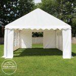 TOOLPORT 5×10 m Tente de réception/Barnum bleu-blanc toile de haute qualité 500g/m² PVC ECONOMY INTENT24
