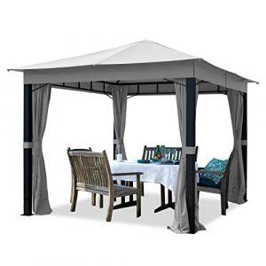 TOOLPORT Pavillon de Jardin 3x3m ALU Premium 280 g/m² bâche imperméable pavillon 4 côtés Tente de Jardin Gris Clair 9x9cm Profil