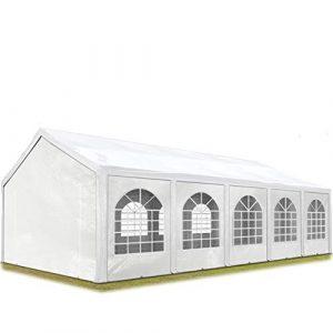 TOOLPORT Tente de réception 4×10 m, Toile de Haute qualité 240g/m² PE Blanc Construction en Acier galvanisé avec raccordement par vissage