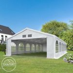 TOOLPORT Tente de réception 6×12 m tente de jardin blanc bâche PE 300 g/m² imperméable résistante aux UV AVEC CADRE DE SOL