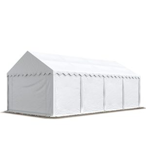 TOOLPORT Tente de Stockage 4×8 m Economy Toile PVC 500 g/m² Blanc imperméable Protection Contre Les Rayons UV (80+) Structure Robuste