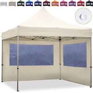 TOOLPORT Tente Pliante 3×3 m – 2 côtés Aluminium Barnum Chapiteau Pliant Tonnelle Stand Paddock Réception Abri Creme