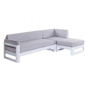 Tousmesmeubles Canapé d'extérieur Aluminium Blanc/Gris – NUKU n°1 – L 240 x l 156 x H 66 – Neuf