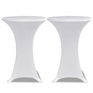 vidaXL Housse de table Ø80cm Blanche extensible 2 pcs