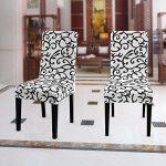 WANYI 4 x Housse de Chaise Universelle Housses de Chaise de Salle à Manger Extensible et Lavables avec Bande élastique (Noir + Blanc)