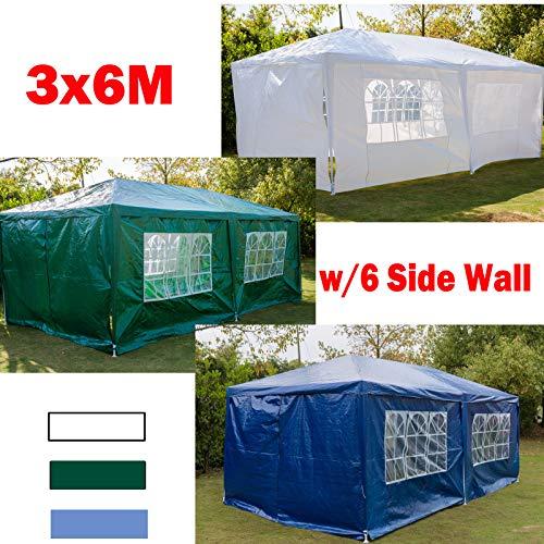 Xinng Tonnelle de Jardin 3 x 4 m 3 x 3 m avec Panneaux latéraux complets 120 g/m² Cadre en Acier revêtu PE Vert/Bleu/Blanc 3x6m-6 Sides Wall Bleu