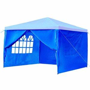 AWYJ Pavillon de Jardin 4 parois latérales Couverture extérieure Travelling Tente Camping Pare-Soleil Bleu Rouge Blanc Bâche imperméable à l'eau Gazebo (Color : Blue, Size : 3x3m)