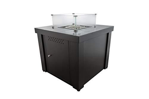 Braséro Table Basse gaz – Parasol Chauffant Fargau Cubix 7300 Watt – Dessus Verre trempé – très Convivial (Noir)