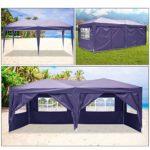 Eloklem Jardin étanche Tonnelle Tente de Reception Pliante pavillon 3 x 6 m Camping Pavillon Gazebo avec 4 côtés (3 x 6 m, Violet)