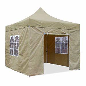 JOM Barnum pliant, 3 x 3 m, beige, version Pro, matériau Oxford 420 D, imperméable, 4 parois latérales, fixation avec fermeture éclair