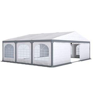 PARAMONDO Tonnelle de réception Flex 8 x 6 m, blanc-gris extensible sur 8 x 4 m, 8 x 6 m