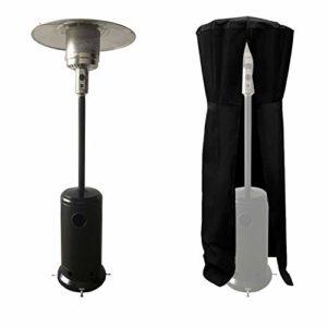 Parasol chauffant OSLO – chauffage d'extérieur gaz – acier noir + housse de protection